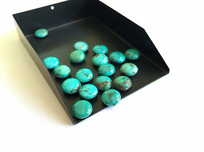 6 Pieces 9mm Calibrated Round Button Natural Tibetan Turquoise Cabochon Lot TR4