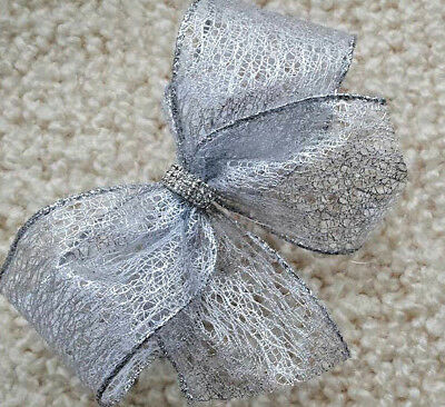 """Luxury 6"""" Wired Christmas Ribbon Bows Pale Silver Shiny  Deco Mesh   Topper,tree"""