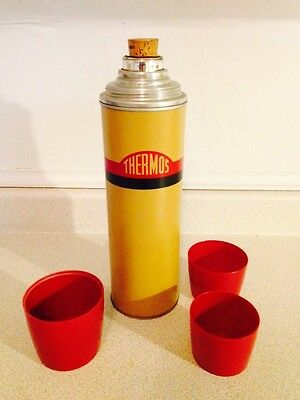 Vintage Mid Century Thermos Vacuum Bottle with Original Cork & Cups