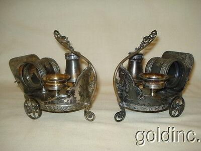 Nice Pair 19th C Silver Plate Derby Combination Set Napkin Holder Chariot N/R
