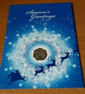 2008 Gibraltar Christmas 50p Diamond finish  Coach & Reindeer coin card Bunc