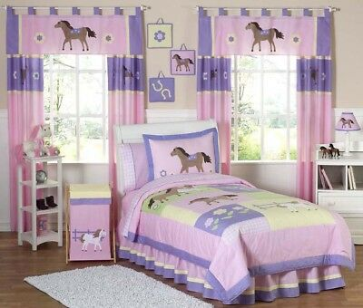 New Horse Cowgirl Kid Full Queen Size Bed Bedding Comforter Set For Girl Bedroom