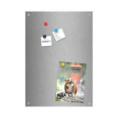 Brushed Stainless Steel Magnetic Notice Message Boards Wall Memo Display