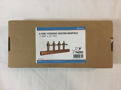 "SharkBite 4-Port Hydronic Heating Manifold, 1"" SWT x 1/2"" PEX - 25482Z (#831070)"