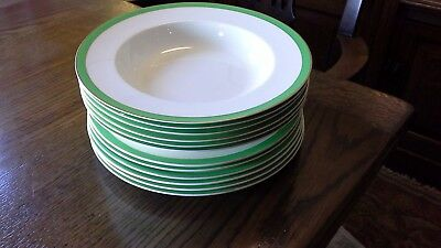 Alfred Meakin, green and gold 'Queens' 6 plates and 6 soup plates.