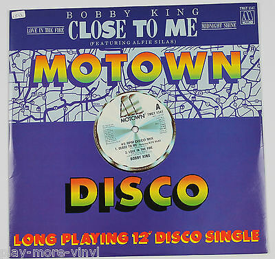 """BOBBY KING ft ALFIE SILAS Close To Me /Love in the Fire 12"""" UK 84 Motown playsNM"""