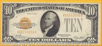 $10.00 Gold Certificate - 1928 - F-2400 - Woods/Mellon - Very Nice!!!! -