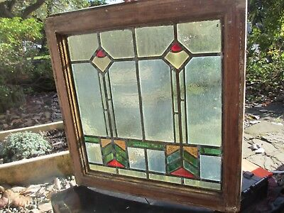 "Antique Stained Glass Window Panel Victorian Art Deco Vintage Old 21"" x 21.75"""