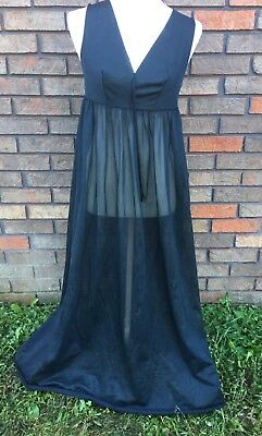 Vintage Night Gown GM Black Sheer Flowy Sweep Size S 32bust Nylon Bargain