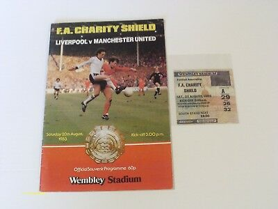 Liverpool V Man Utd - Charity Shield - Prog & Ticket Stub - Sat 20Th Aug 1983