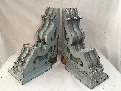 Large Pair Antique Victorian Corbels Roof Brackets Vtg Gingerbread Chic 712-17E