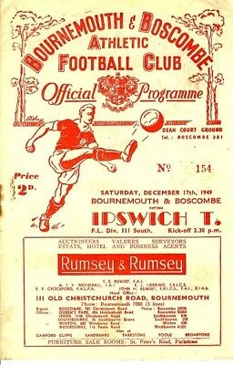 BOURNEMOUTH v Ipswich Town 1949/50 - Football Programme