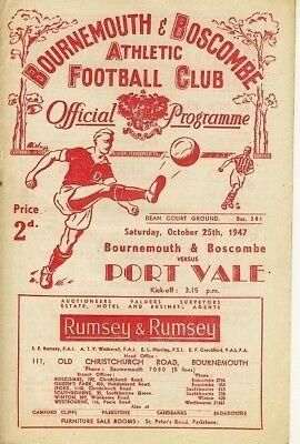 BOURNEMOUTH v Port Vale 1947/8 - Football Programme