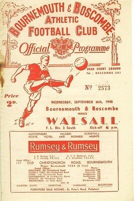 BOURNEMOUTH v Walsall 1948/9 Football Programme