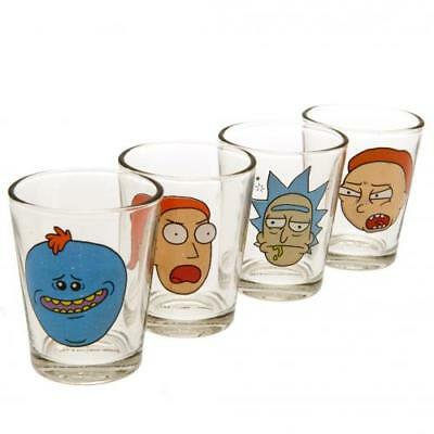 Rick And Morty 4 Pack Shot Glass Set Fan Fun Gift New Official Licensed Product