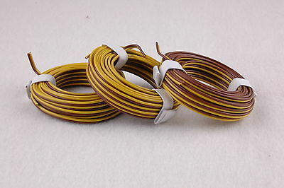[1m = 0,397 € EUR ] Twin Braid Wire 3 x 5m Yellow/Brown NEW