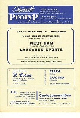 LAUSANNE (Switzerland) v West Ham (CWC) 1964/5 Winners!