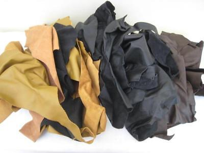 2KG GENUINE LEATHER OFF CUTS/REMNANTS for Craft, Patching etc TAN, BLACK & BROWN