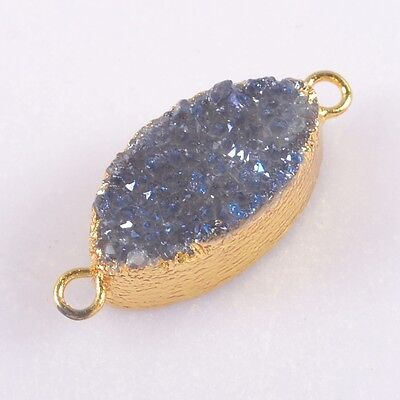 Natural Agate Titanium Druzy Connector Gold Plated T040684