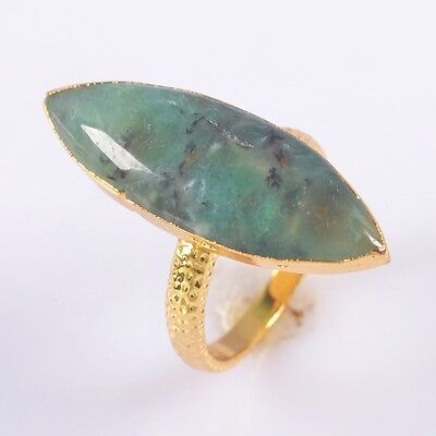 Size 6.5 Australia Natural Chrysoprase Ring Gold Plated T040772