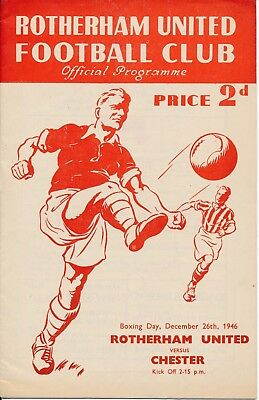ROTHERHAM v Chester 1946/7 - Football Programme