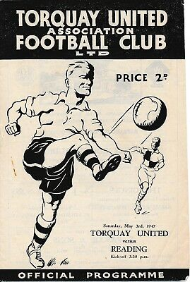 TORQUAY v Reading 1946/7 - Football Programme