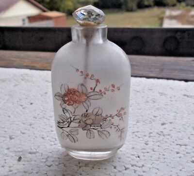 Antique Clear Glass Inside Painted Chinese Snuff Bottle & Cut Glass Stopper