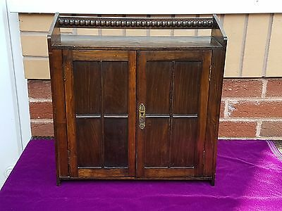 Antique Oak Wall Desk Top Cabinet / Smokers Cabinet