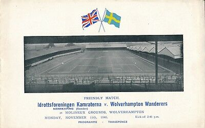 WOLVES v Norrkoping Kamraterna Sweden (Friendly) 1946