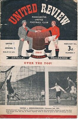 Man Utd v Arsenal (FA Cup) 1950/1 - Football Programme