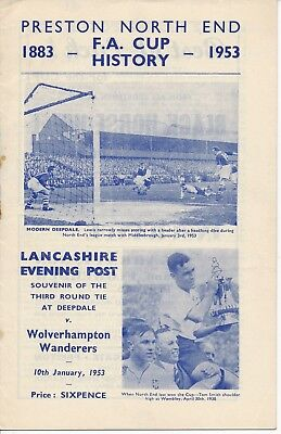 Preston v Wolves (FA Cup) 1952/3 - Lancs Evening Post Edition