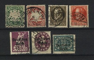 Bavaria (German State) 7 different, used, starts 1888