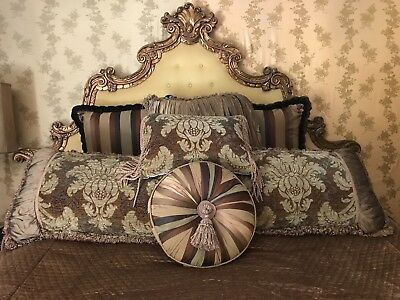 Vintage (from the Hollywood Hills) French Euro Glam Tufted Headboard Gold Frame