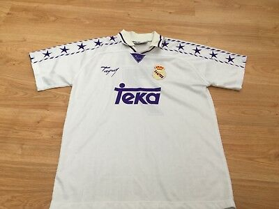 Vintage Large Mens Real Madrid Spain Home Football Shirt by Taguy RAUL No. 7 99p