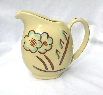Shawnee Pottery Pitcher 1940 USA 35 Off White Cream Blue Brown Flowers Miniature