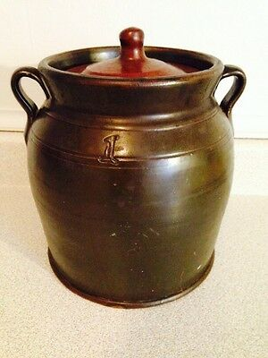 Nice Early Antique Fine Brown 1 Gallon Handled Beehive Crock, No Chips Or Cracks
