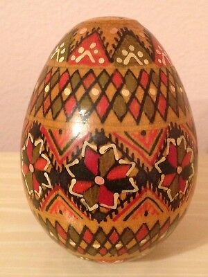 Vintage Wooden Hand Painted Egg, Ukrainian Collectible Circa 1960's Vgc