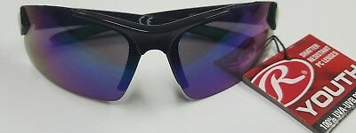 Rawlings Youth 107 Blue Lens Blk/Grn Frame Sunglasses 100% UV impact resistant