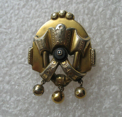 Antique Victorian Mourning Brooch Seed Pearl Black Onyx Hallmarks Gold Filled