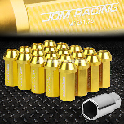 Jdm Closed-End Aluminum Gold 20 Lug Nuts Set+Adapter M12X1.25 25Mm Od/50Mm Tall