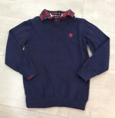 boys navy blue jumper with red check shirt collar from next size 4 years