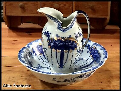 Original Antique Blue & White Jug & Bowl Rington's Tea Merchants Newcastle C1900