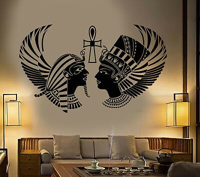 Vinyl Wall Decal Egyptian King Queen Head Pharaoh Ancient Egypt Stickers 1838ig
