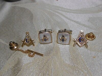 HOLIDAY SPECIAL Masonic Mother of Pearl Cuff Links - Lapel Pin & Tie Tack