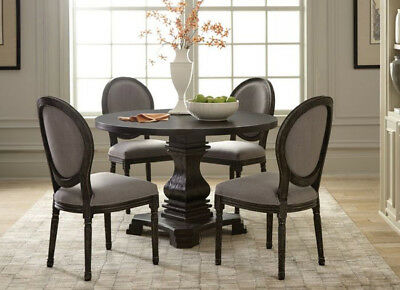 5 PC Rustic French Style Antique Black Round Dining Table Set w/ Gray Chairs