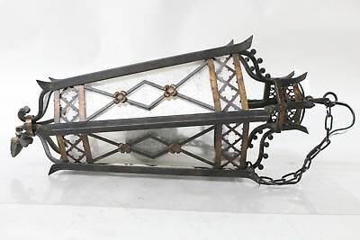 Vintage Ornate Wrought Iron 3  Light Stained Glass Fixture Hallway Pendant