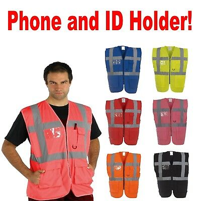 Hi Vis Viz Vest Safety Zip Executive Visibility Waistcoat Phone & Id Pocket