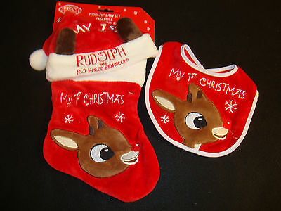 Rudolph The Red Nosed Reindeer  Baby's 1St Christmas Stocking, Hat & Bib Nwts
