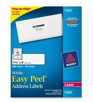 """Avery White Easy Peel Address Labels 1 1/3"""" X 4"""" Laser 1400 Labels 5162 NEW"""