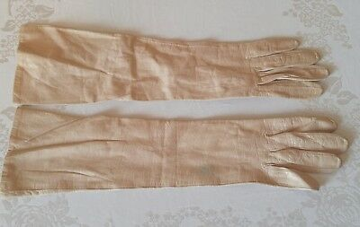 """Vintage Kid Leather Gloves 15"""" Elbow Length TAN & Silk Lined Size 6¼ France USED"""